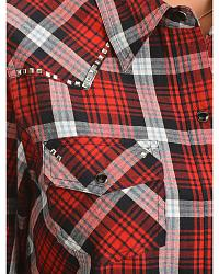 Red Ranch Plaid Studded Western Top at Sheplers