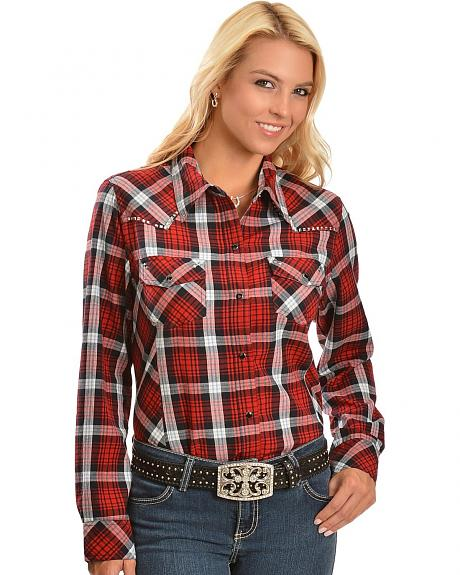 Red Ranch Plaid Studded Western Top