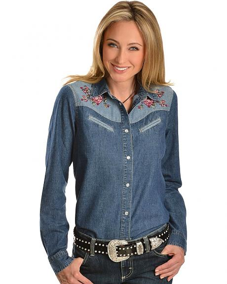 Red Ranch Two-Tone Denim Floral Embroidered Top