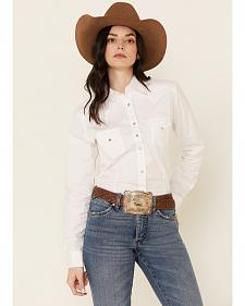 Wrangler White Rhinestone Snap Western Shirt