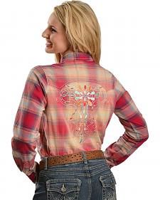 Wrangler Rock 47 Bedecked & Embroidered Plaid Western Shirt