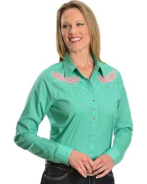 Wrangler Rock 47 Embroidered Yoke Teal Cheetah Print Western Shirt