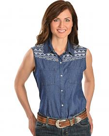 Red Ranch Embroidered Yoke Denim Sleeveless Top