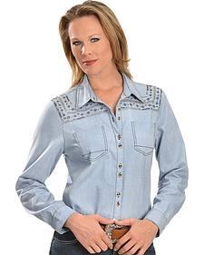 Red Ranch Stitched Yoke Chambray Shirt