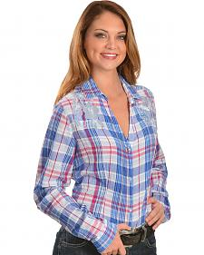 Red Ranch Floral Mesh Inset Plaid Shirt