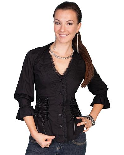 Scully Lace Up Back 34 Length Top $68.99 AT vintagedancer.com