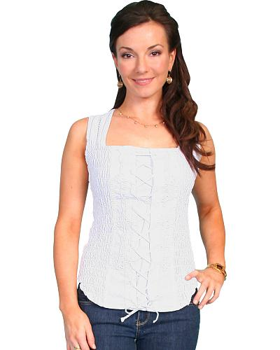 Scully Peruvian Cotton Laced Tank Top $73.99 AT vintagedancer.com