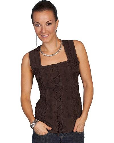 Scully Peruvian Cotton Laced Tank Top Western & Country PSL-058 WH