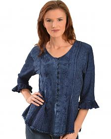 Scully Floral Embroidered Ruffled Sleeve Top