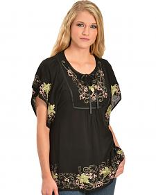 Scully Floral Embroidered Wide Sleeve Top