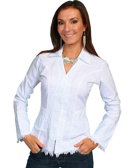 Scully Peruvian Cotton Frayed Edges Top