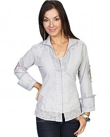Scully Cross Embroidered Long Sleeve Top