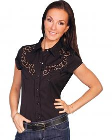 Scully Scroll Embroidery Cap Sleeve Top