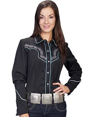 Scully Stud Embroidered Yoke Long Sleeve Top