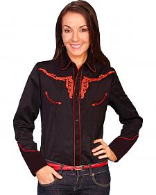 Scully Longhorn Tooled Long Sleeve Top