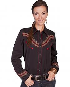 Scully Fancy Embroidered Yoke Long Sleeve Top