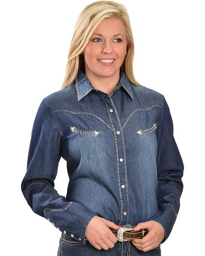 Scully Whipstitched Long Sleeve Top Western & Country PL-823WBL