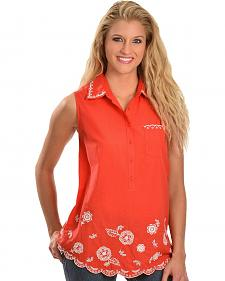 Red Ranch Floral Embroidered Top