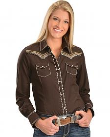 Ariat Mahogany Embroidered Snap Western Shirt