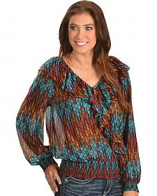Ariat Barrows Multi Print Chiffon Top