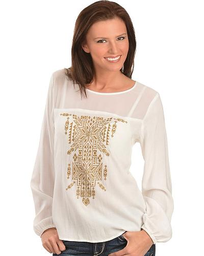 Ariat Eola Aztec Embroidered Chiffon Top $34.97 AT vintagedancer.com