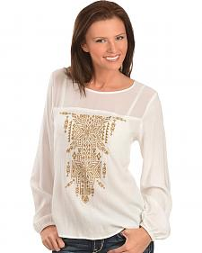 Ariat Eola Aztec Embroidered Chiffon Top