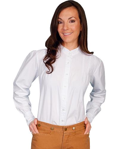 Rangewear by Scully Peruvian Cotton Pleated Front Long Sleeve Top $51.99 AT vintagedancer.com