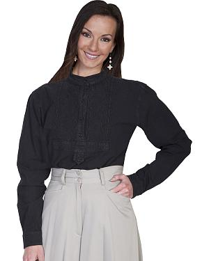 Rangewear by Scully Paisley Bib Inlay Long Sleeve Top $56.99 AT vintagedancer.com