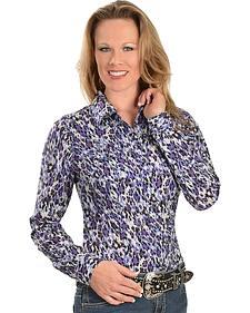 Wrangler Rock 47 Purple Animal Print Western Shirt