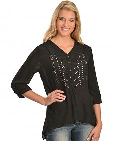 Red Ranch Studded Long Sleeve Top