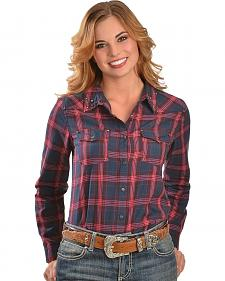 Red Ranch Women's Fuchsia Plaid Studded Western Shirt