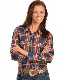 Red Ranch Women's Navy Plaid Studded Western Shirt