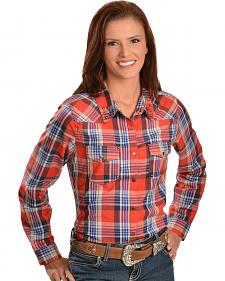 Red Ranch Women's Coral Plaid Studded Western Shirt