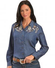 Red Ranch Aztec Embroidered Denim Shirt