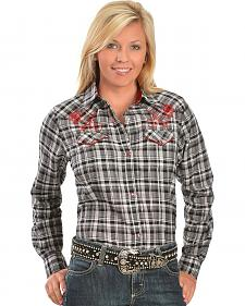 Wrangler Rose Embroidered Plaid Lurex Western Shirt