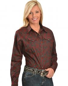 Wrangler Red Floral Flocked Black Western Shirt