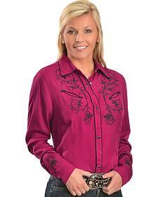Wrangler Raspberry Embroidered Western Shirt