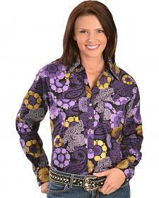 Wrangler Purple & Gold-tone Foil Print Western Shirt