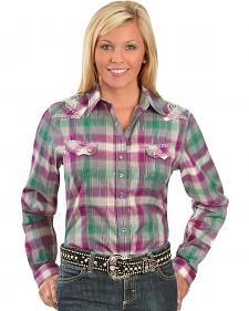 Wrangler Rock 47 Crystal Plaid Western Shirt