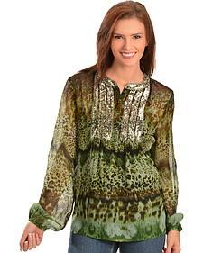 Bila Shimmering Leopard Print Chiffon Top