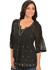 Bila Black Beaded Top