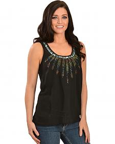 Bila Black Beaded Feather Georgette Tank
