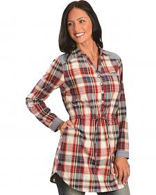 Red Ranch Plaid Chambray Tunic