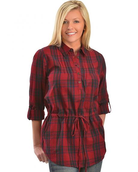 Red Ranch Red & Navy Plaid Tunic