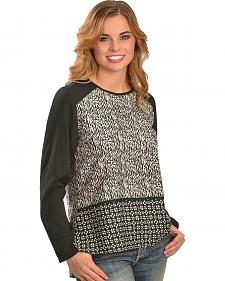 Red Ranch Women's Multi Print Black & White Long Sleeve Tunic
