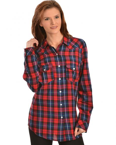 Red ranch women 39 s navy plaid pearl snap western shirt for Womens navy plaid shirt