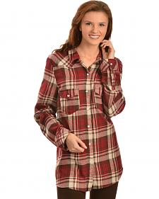 Red Ranch Women's Brown Plaid Pearl Snap Western Shirt