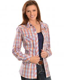 Ariat Women's Koosia Coral & Periwinkle Plaid Western Shirt