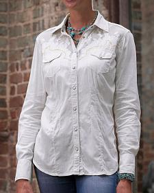 Ryan Michael Women's Scroll Lace Western Shirt
