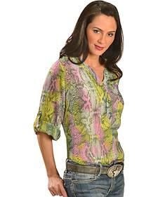 Wrangler Rock 47 Women's 3/4-Sleeve Snake Print Chiffon Shirt